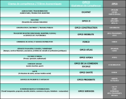 Tableau OPCA en OPCO par filière