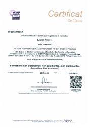ASCENCIEL Certifié e-AFAQ Formation Profesionnelle