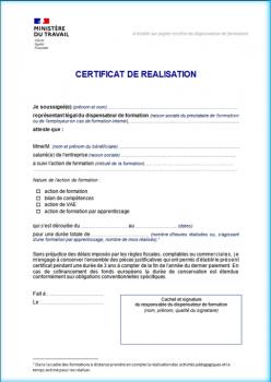 Certificat de réalisation des actions de formation