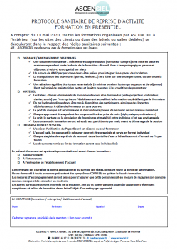 Protocole sanitaire de reprise activité formation